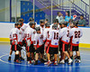 "Onondaga Redhawks huddle up before the start of the game against the Newtown Golden Eagles in the finals of the Can-Am Senior ""B"" Lacrosse league at the Onondaga Nation Arena near Nedrow, New York."