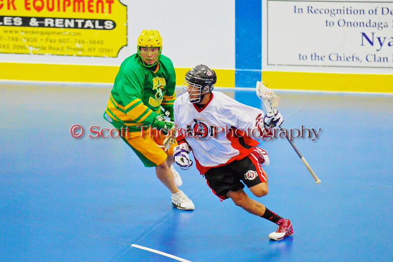 "Onondaga Redhawks host the Newtown Golden Eagles in the finals of the Can-Am Senior ""B"" Lacrosse league at the Onondaga Nation Arena near Nedrow, New York."