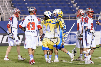 Florida Launch #24 Mario Ventiquattro celebrates with fellow teammate #44 Jordan Hall after Hall scores.