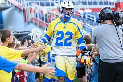 #22 Casey Powell greets Florida Launch fans as he takes the field again the Ohio Machine