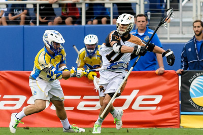 #45 Tom Croonquist Midfield Florida Launch, stick checks #11 Joel White Defense Rochester Rattlers