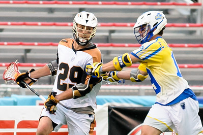 #9 Joe LoCascio Midfield Florida Launch checks #29 Jordan MacIntosh Midfield Rochester Rattlers