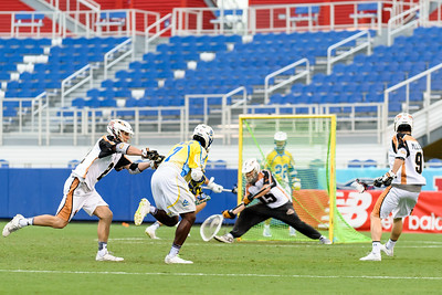 #7 Jovan Miller Midfield Florida Launch scores against #15 John Galloway Goalie Rochester Rattlers