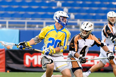 #4 John Locascio Defense Rochester Rattlers checks #20 Connor Buczek Midfield Florida Launch