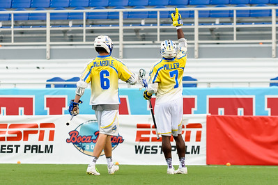 Victory salute from #7 Jovan Miller Midfield Florida Launch after scoring against Rochester
