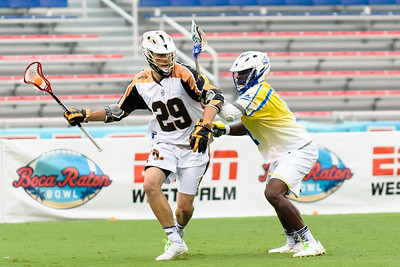 #7 Jovan Miller Midfield Florida Launch applies pressure against #29 Jordan MacIntosh Midfield Rochester Rattlers