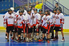 "The 2012 edition of the Onondaga Redhawks breaks the pre-game huddle before playing the Rochester Greywolves in the first game of the Can-Am Senior ""B"" Box Lacrosse season at the Onondaga Nation Arena near Nedrow, New York on Saturday, April 28, 2012. Redhawks went on to win 19-4."