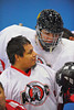 "Onondaga Redhawks players Murray Stout Jr. and goalie Ross Bucktooth before the game against the Rochester Greywolves in Can-Am Senior ""B"" Box Lacrosse at the Onondaga Nation Arena near Nedrow, New York on Saturday, April 28, 2012."