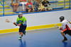 """Rochester Greywolves Ryan Maciaszek (34) looking to make a play against the Onondaga Red Hawks in Can-Am Senior """"B"""" Box Lacrosse playoff action at the Onondaga Nation Arena in Nedrow, New York on Friday, July 15, 2011.  Greywolves won 12-8."""
