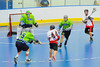 """Onondaga Red Hawks Brad Gabriel (44) fires on the Rochester Greywolves goalie Cory Bazylewski (00) in Can-Am Senior """"B"""" Box Lacrosse playoff action at the Onondaga Nation Arena in Nedrow, New York on Friday, July 15, 2011.  Greywolves won 12-8."""