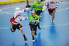"""Rochester Greywolves A.J. Laffin (1) passes out of his zone against the Onondaga Red Hawks in Can-Am Senior """"B"""" Box Lacrosse playoff action at the Onondaga Nation Arena in Nedrow, New York on Friday, July 15, 2011.  Greywolves won 12-8."""