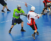 """Rochester Greywolves defender Steve Personale (29) takes on Onondaga Red Hawks Tyler Hill (14) in Can-Am Senior """"B"""" Box Lacrosse playoff action at the Onondaga Nation Arena in Nedrow, New York on Friday, July 15, 2011.  Greywolves won 12-8."""