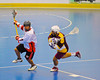 Onondaga Redhawks Mike Abrams (7) comes away with the ball against the Tuscarora Tomahawks at the Onondaga Nation Arena near Nedrow, New York on Saturday, June 23, 2012.