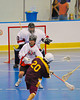 Tuscarora Tomahawks Billy Farnham (20) slings a shot at the Onondaga Redhawks net in the Onondaga Nation Arena near Nedrow, New York on Saturday, June 23, 2012.