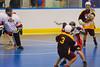 Tuscarora Tomahawks Elijah Printup (3) passes in front of the Onondaga Redhawks net at the Onondaga Nation Arena near Nedrow, New York on Saturday, June 23, 2012.