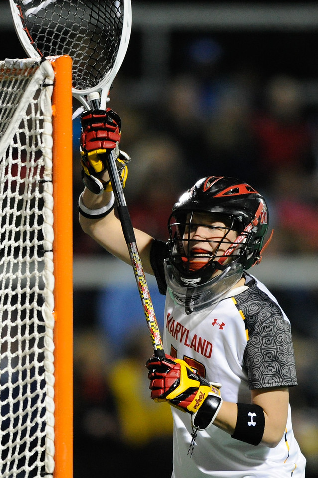 MAR 2, 2012 : Maryland Goalie Brittany Dipper (43) during action between the Virginia Cavaliers and the University of Maryland Womens Lacrosse match up at the Field Hockey and Lacrosse Complex at the University of Maryland in College Park, MD. The Terrapins defeated the Cavaliers 12-9.