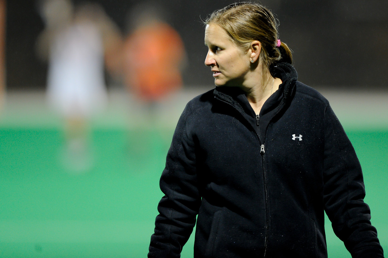 MAR 2, 2012 : Maryland's head coach Cathy Reese during action between the Virginia Cavaliers and the University of Maryland Womens Lacrosse match up at the Field Hockey and Lacrosse Complex at the University of Maryland in College Park, MD. The Terrapins defeated the Cavaliers 12-9.