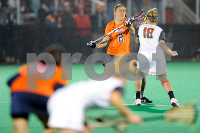 Caption Error MAR 2, 2012 : Virginia's Lauren Goerz (2) faces off with Maryland's Karri Ellen Johnson (18) during action between the Virginia Cavaliers and the University of Maryland Womens Lacrosse match up at the Field Hockey and Lacrosse Complex at the University of Maryland in College Park, MD. The Terrapins defeated the Cavaliers 12-9.