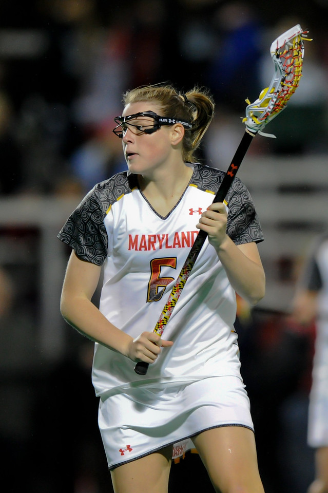 MAR 2, 2012 : Maryland Midfielder Kelly McPartland (6) during action between the Virginia Cavaliers and the University of Maryland Womens Lacrosse match up at the Field Hockey and Lacrosse Complex at the University of Maryland in College Park, MD. The Terrapins defeated the Cavaliers 12-9.
