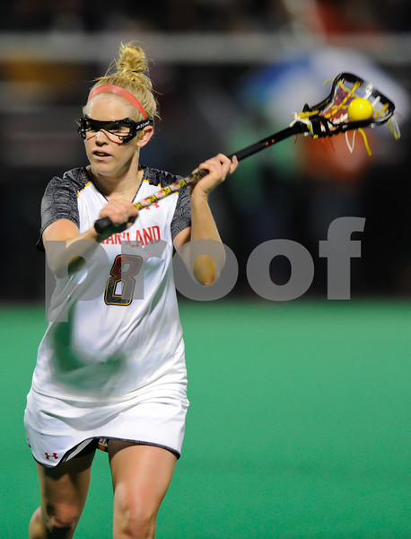 MAR 2, 2012 : maryland Attacker Kristy Black (8) during action between the Virginia Cavaliers and the University of Maryland Womens Lacrosse match up at the Field Hockey and Lacrosse Complex at the University of Maryland in College Park, MD. The Terrapins defeated the Cavaliers 12-9.