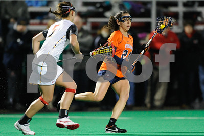 MAR 2, 2012 : Virginia Midfielder Julie Gardner (24) during action between the Virginia Cavaliers and the University of Maryland Womens Lacrosse match up at the Field Hockey and Lacrosse Complex at the University of Maryland in College Park, MD. The Terrapins defeated the Cavaliers 12-9.
