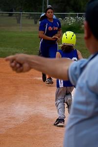The umpire calls it fair as Leah runs for her life