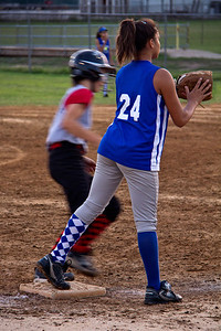 Jasmine stands by to make a play at third base