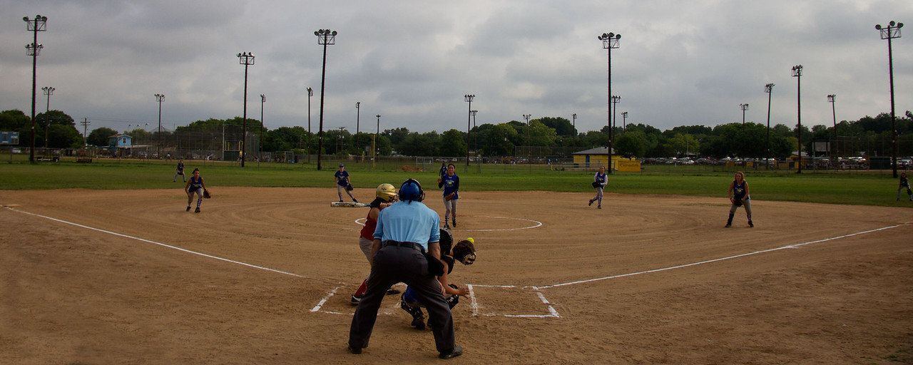 The girls defense was impeccable - only one batter reached base on a walk the whole game