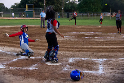 Addie slides in safely in the second inning
