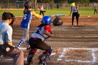 Hannah cracks a double to right in the first inning