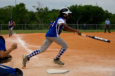 Azia takes off for first base