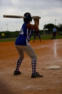 Jasmine eyes up the pitch