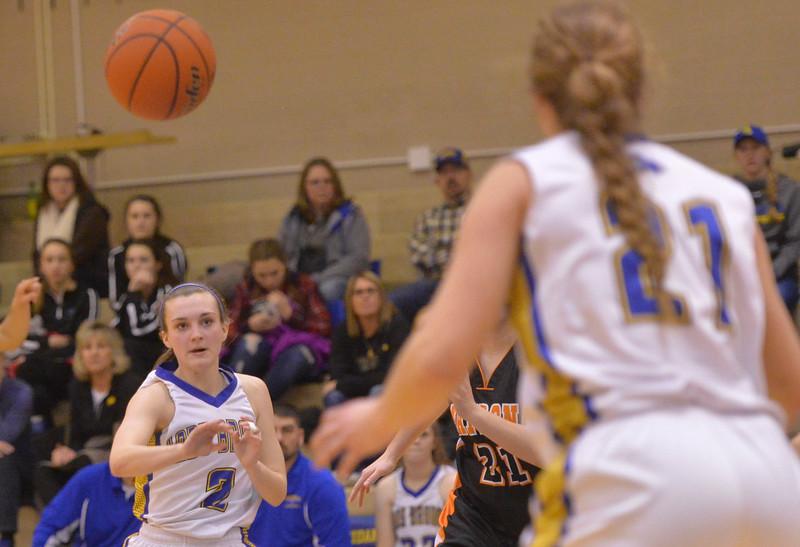 Justin Sheely | The Sheridan Press<br /> Sheridan's Riley Rafferty passes the ball at Sheridan High School Saturday, Jan. 13, 2018. The Lady Broncs won 47-43.