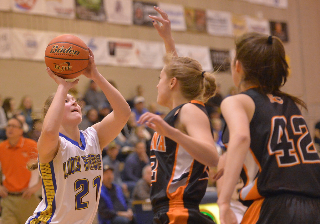 Justin Sheely | The Sheridan Press<br /> Sheridan's Jordan Christensen shoots against Natrona at Sheridan High School Saturday, Jan. 13, 2018. The Lady Broncs won 47-43.