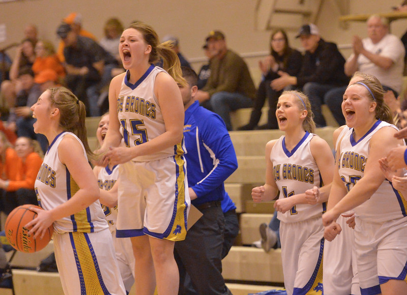 Justin Sheely | The Sheridan Press<br /> The Lady Broncs celebrate their victory over Natrona at Sheridan High School Saturday, Jan. 13, 2018. The Lady Broncs won 47-43.