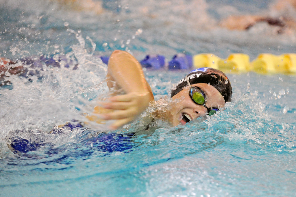 Olivia Thoney competes in the 200-meter freestyle during the Sheridan Invite on Saturday, Sept. 23 at Sheridan Junior High School. Mike Pruden | The Sheridan Press