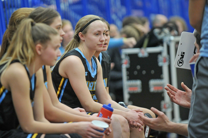 Mike Pruden | The Sheridan Press<br /> Raelynn Keefer listens during a timeout at the Pronghorn Center in Gillette Wednesday, Jan 24, 2018.