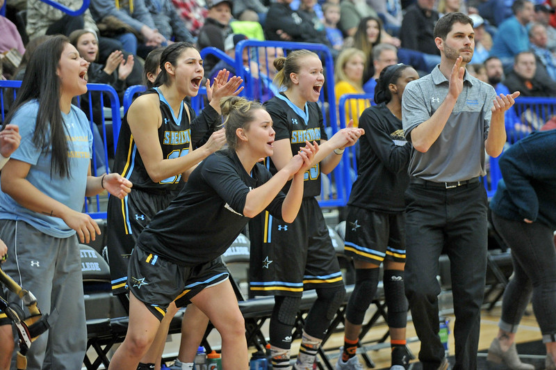 Mike Pruden | The Sheridan Press<br /> Members of the Sheridan College women's basketball team cheer from the bench as the Lady Generals make a comeback in a four-overtime game at the Pronghorn Center in Gillette Wednesday, Jan. 24, 2018.