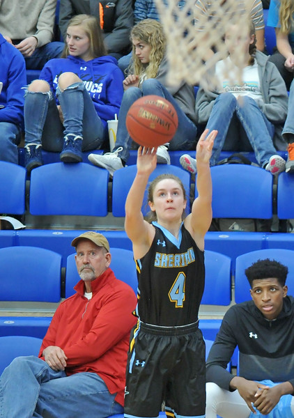 Mike Pruden   The Sheridan Press<br /> Sheridan College's Brooke Cargal fires a 3-pointer at the Pronghorn Center in Gillette Wednesday, Jan 24, 2018.
