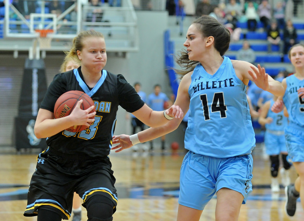 Noora Parttimaa, left, drives at Gillette College's Lily Sara at the Pronghorn Center in Gillette Wednesday, Jan 24, 2018.
