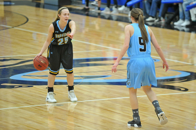 Mike Pruden | The Sheridan Press<br /> Sheridan College point guard Raelynn Keefer (25) calls out a play at the Pronghorn Center in Gillette Wednesday, Jan 24, 2018.