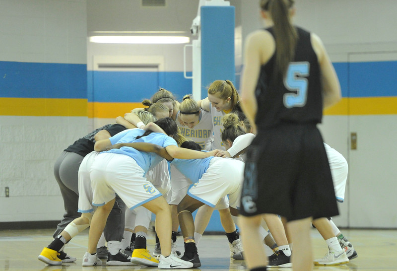 Justin Sheely | The Sheridan Press<br /> The Lady Generals get hyped for the opening round of the Region IX tournament against Gillette College at the Bruce Hoffman Golden Dome Friday March 2, 2018. The Lady Generals won 68-40 to advance to the Region IX quarterfinals.