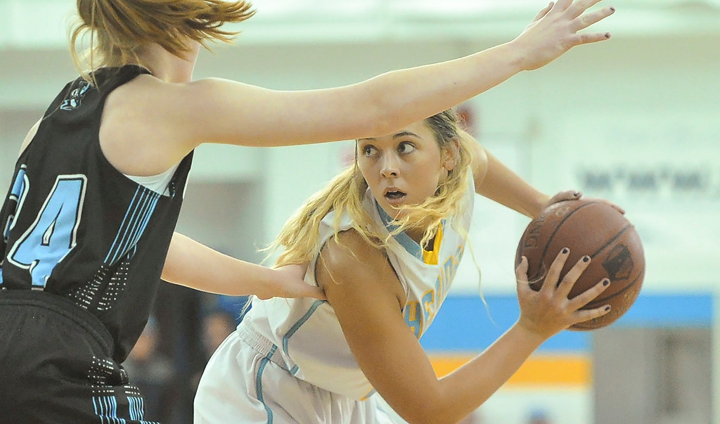 Justin Sheely | The Sheridan Press<br /> Sheridan's Ashleigh Frampton moves against Gillette College at the Bruce Hoffman Golden Dome Friday March 2, 2018. The Lady Generals won 68-40 to advance to the Region IX quarterfinals.