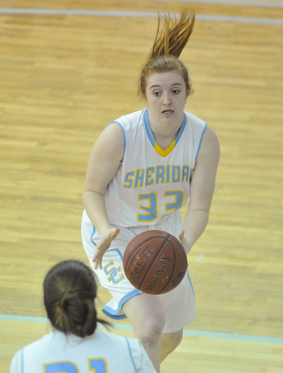 Justin Sheely | The Sheridan Press<br /> Sheridan's Kassie Hoyerpasses the ball to Aloma Solovi against Gillette College at the Bruce Hoffman Golden Dome Friday March 2, 2018. The Lady Generals won 68-40 to advance to the Region IX quarterfinals.