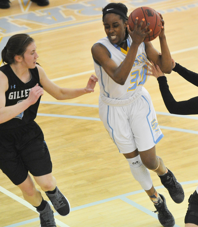 Justin Sheely | The Sheridan Press<br /> Sheridan's Carmen Ramey drives against Gillette College at the Bruce Hoffman Golden Dome Friday March 2, 2018. The Lady Generals won 68-40 to advance to the Region IX quarterfinals.