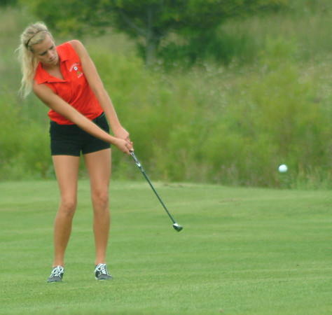 Rushville's Whitley Disbro carded a 94 in the season opener for the Lady Lion golf team.