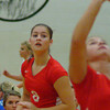 Rushville's Allison Wainwright waits for the set. The Lady Lions fell to visiting East Central Wednesday.