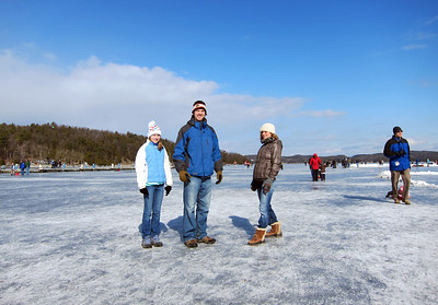 Pond hockey tournament on Lake Champlain in Colchester, Vermont. Feb 19, 2012.
