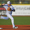 Eric Bonzar—The Morning Journal<br /> Crushers shortstop Parker Norris throws to first base for an out.