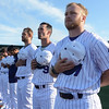 Eric Bonzar—The Morning Journal<br /> Donning their white and purple pinstripes, the new-look Lake Erie Crushers took to their home field at Sprenger Health Care Stadium to kick off their season, May 12, 2017.